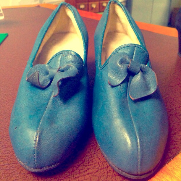 Blue Slippers Close Up