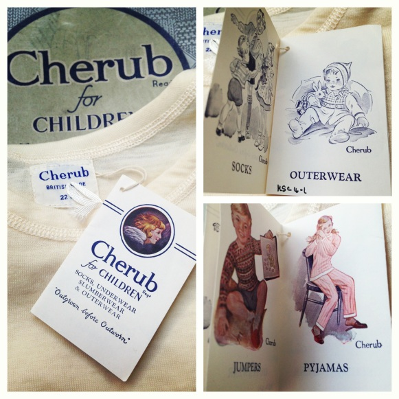 "Details of Packaging and Label on ""Cherub"" Children's Vests from the Hodson Shop Collection. 1950s."