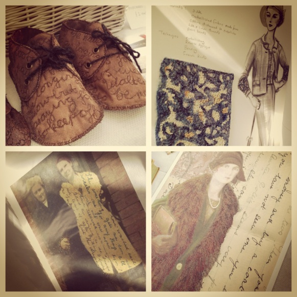Artwork by Textile Artist, Maria Walker in Collaboration with Poet, Angela Topping. Image taken at Textile Stories Study Day at University of Chester.