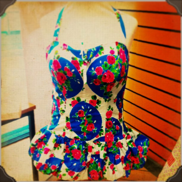1950s skirted swimsuit, Walsall Museum.