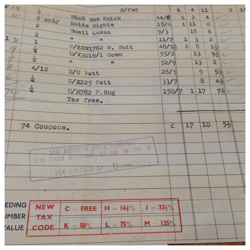 Invoice 1940s