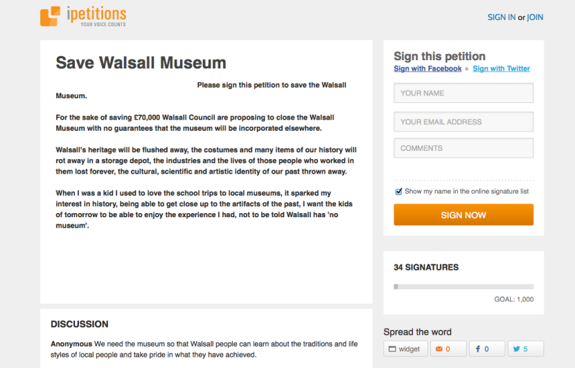 Save Walsall Museum Petition
